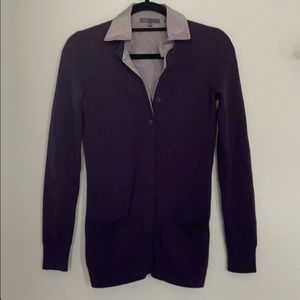 Vince 100% Cashmere Purple Cardigan w/ Mock Collar